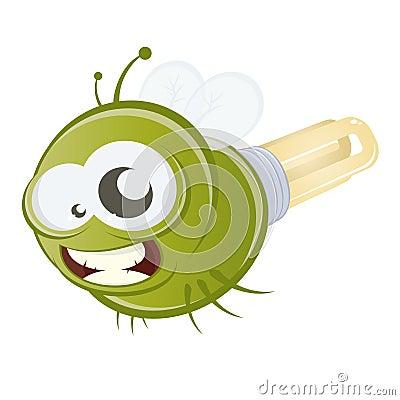 Funny cartoon firefly