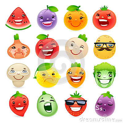 Free Funny Cartoon Fruits And Vegetables With Different Stock Photo - 57459370