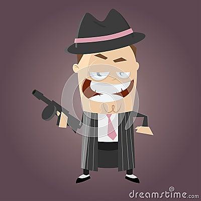 Funny cartoon gangster