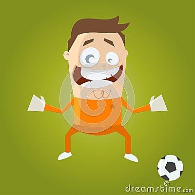 Funny cartoon goalkeeper