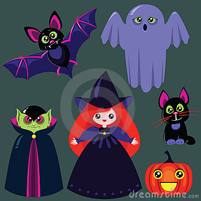 Funny cartoon halloween set