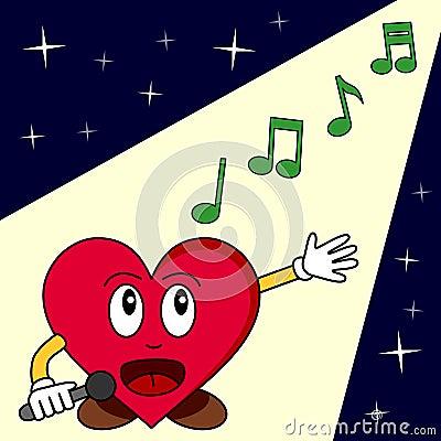 Funny Cartoon Heart Singing