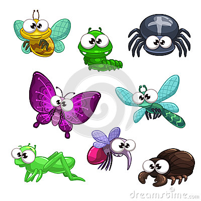 Free Funny Cartoon Insects Set Royalty Free Stock Photo - 58733885