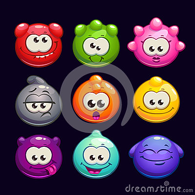 Free Funny Cartoon  Jelly Round Characters Set Stock Image - 61556791