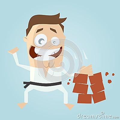 Funny cartoon karate man hitting bricks