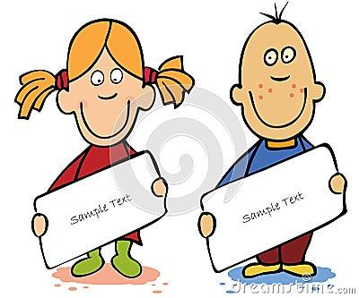 Funny cartoon kids with empty blank