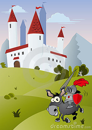 Funny cartoon knight