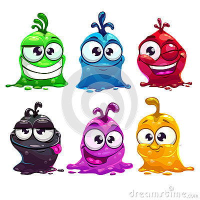 Free Funny Cartoon Liquid Characters Royalty Free Stock Photo - 56723405