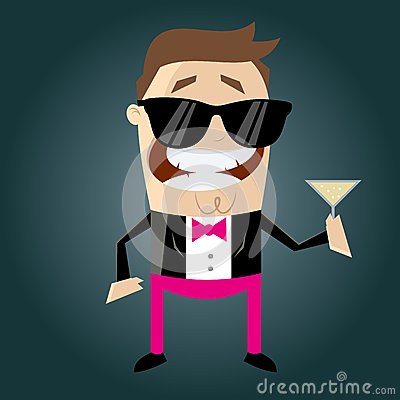 Funny cartoon macho with cocktail