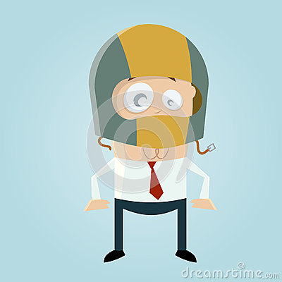 Funny cartoon man with crash helmet
