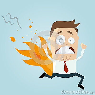 Funny Cartoon Man Is On Fire Royalty Free Stock