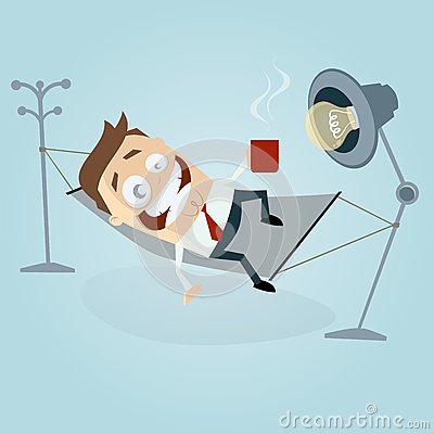 Funny cartoon man in hammock