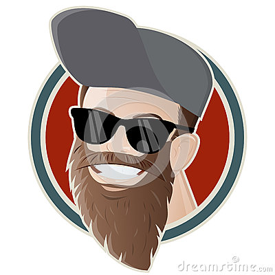 Funny cartoon man with a long beard