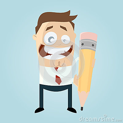 Funny cartoon man with pen