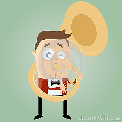 Funny cartoon man playing tuba