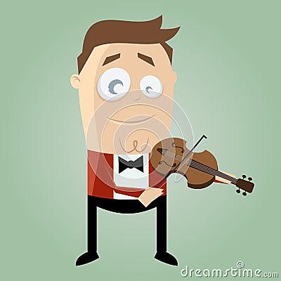 Funny cartoon man playing violin
