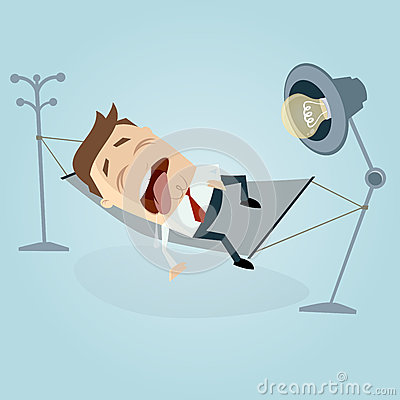 Funny cartoon man sleeping and dribbling in hammock