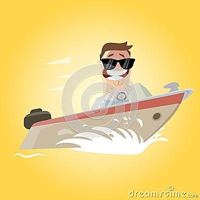 Funny cartoon man on a yacht