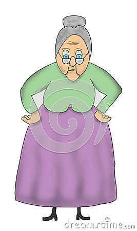 Funny Cartoon Old Grandma, Granny Illustration Stock Photo - Image ...