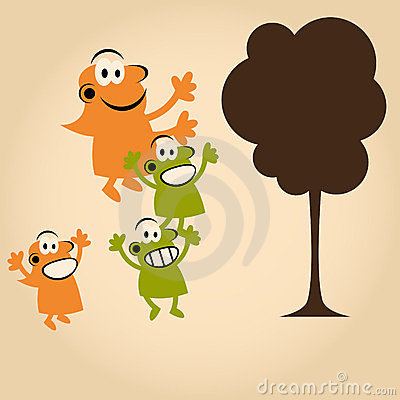Funny cartoon people and tree