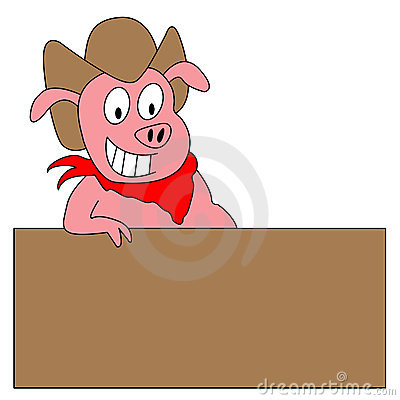 Funny Cartoon Pig Illustration With Blank Sign