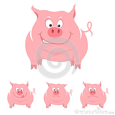 Funny cartoon pig with various emotions