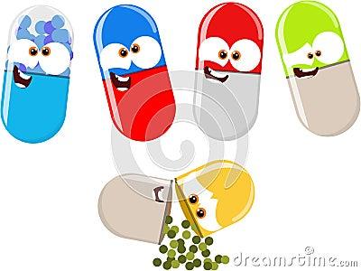 Funny cartoon pills