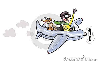 Funny cartoon pilot and dog