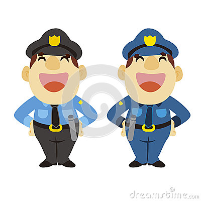 Funny cartoon policeman, two colors