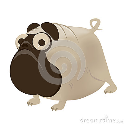Funny cartoon pug