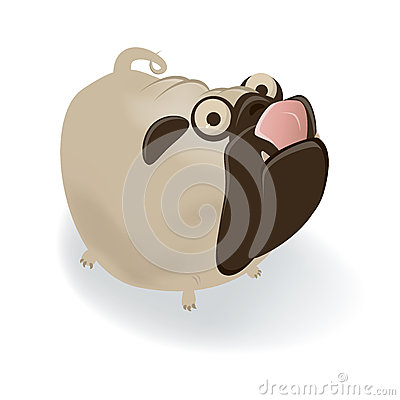Funny cartoon pug is licking