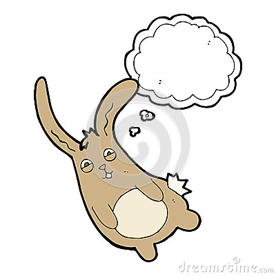 Free Funny Cartoon Rabbit With Thought Bubble Royalty Free Stock Image - 52944046