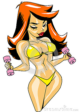 Free Funny Cartoon Red-haired Girl In A Bikini With Dumbbells Royalty Free Stock Images - 50739459