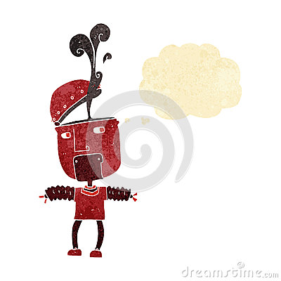 Free Funny Cartoon Robot With Open Head With Thought Bubble Royalty Free Stock Image - 52905706