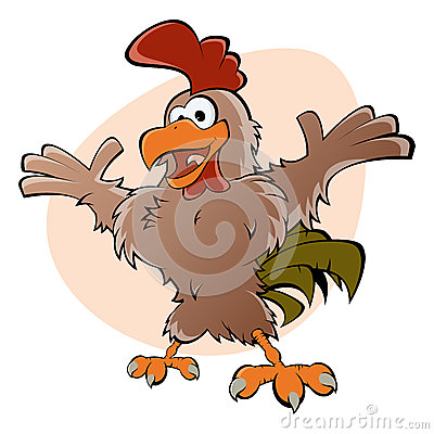 Funny cartoon rooster
