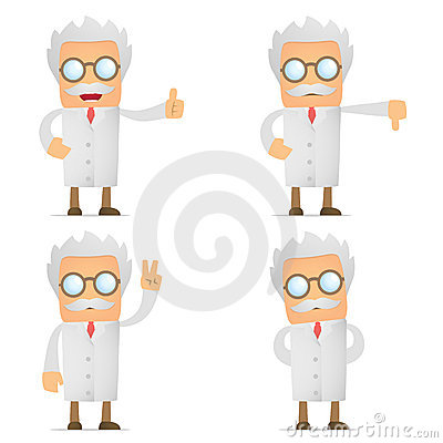 Free Funny Cartoon Scientist Hold Thumb Up And Down Royalty Free Stock Photos - 21036338