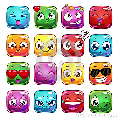 Free Funny Cartoon Square Jelly Characters Royalty Free Stock Photography - 65793197