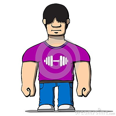 Funny cartoon strongman. Vector illustration