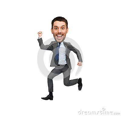 Free Funny Cartoon Style Businessman Jumping Stock Photos - 61353763