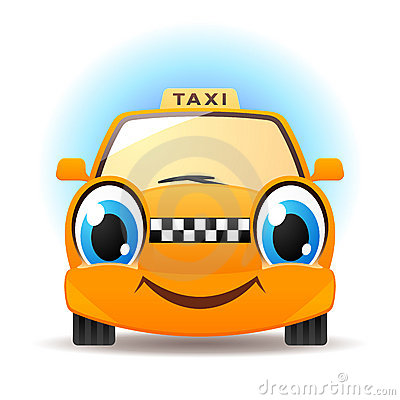 Funny cartoon taxi. Vector car icon