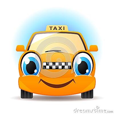 Funny cartoon taxi. Vector car icon