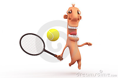 Funny cartoon tennis player. Objects over white.