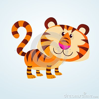 Free Funny Cartoon Tiger Vector Illustration Isolated Royalty Free Stock Images - 144807649