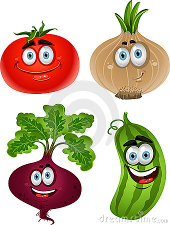 Funny cartoon  tomato, beet, cucumber, onion