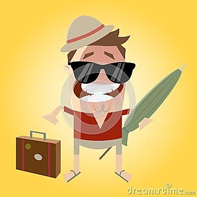 Funny cartoon tourist