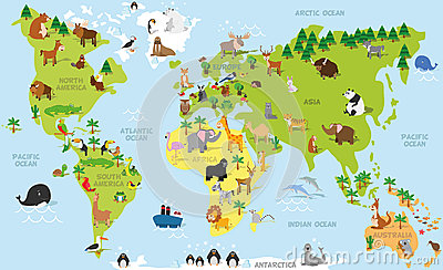 Funny cartoon world map with traditional animals of all the continents and oceans. Vector illustration for preschool education Vector Illustration