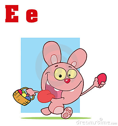 Funny Cartoons Alphabet-Easter Bunny With Letters