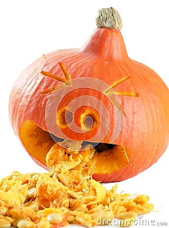Funny carved pumpkin