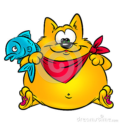 Funny cat and fish