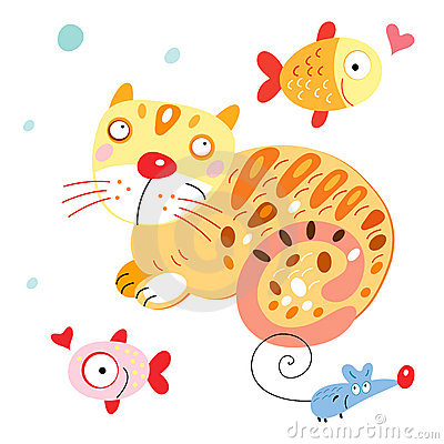 Funny cat with fish and mouse